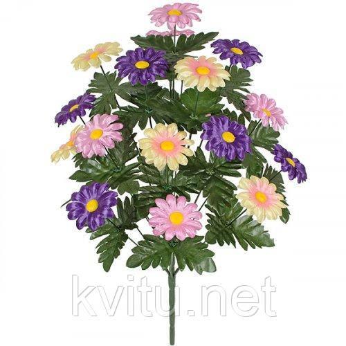 Искусственные цветы букет ромашки трехцветный, 58см