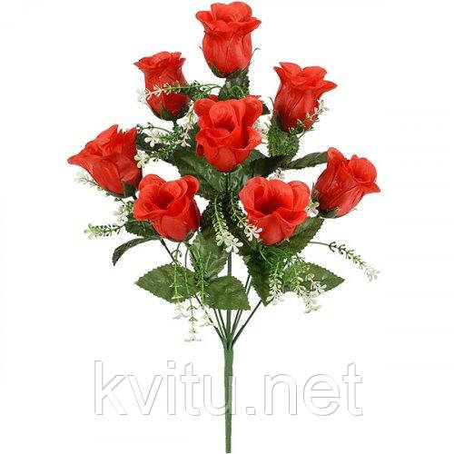 Искусственные цветы букет атласный роза бутон кашка, 53см