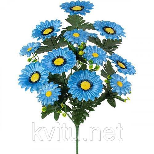 Искусственные цветы букет ромашки синей Лоск, 50см