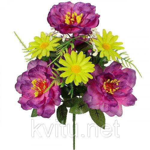 Искусственные цветы букет пион фиолетовый с ромашкой, 35см