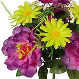 Искусственные цветы букет пион фиолетовый с ромашкой, 35см, фото 2