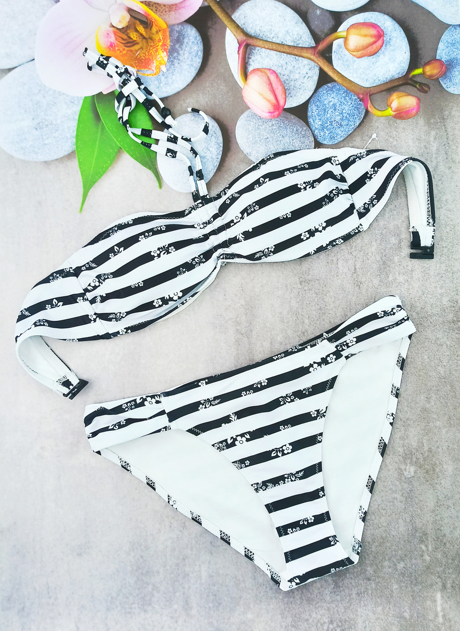 Жіночий купальник Esmara анжеліка 36р смужка чорний з білим (312232)
