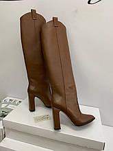 Женские кожаные сапоги казачки с широким ровным голенищем