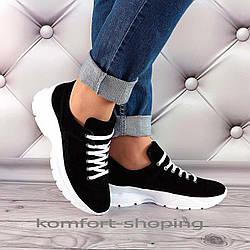 Женские кроссовки на шнуровке замшевые, черные  V 1351