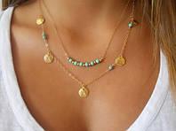 Ожерелье Монетки с бирюзой/бижутерия/цвет цепочки золото/цвет искуственных камней под камень бирюзы