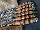 """Шампура подарункові з дерев'яними ручками """"Тандем"""" в шкіряному сагайдаку, фото 2"""