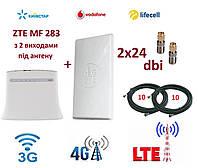 Комплект для интернета (3G/4G/LTE)роутер ZTE MF 283 + Антенна планшетная MIMO 2×24 dbi+стартовый пакет