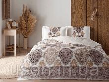 Комплект постельного белья сатин Tac размер евро Carina Brown
