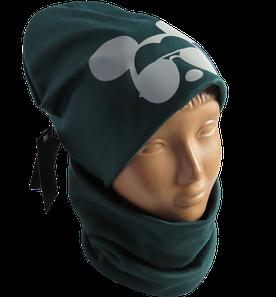 Детская / подростковая демисезонная шапка Микки с хомутом на флисе, зеленая со светоотражающей эмблемой