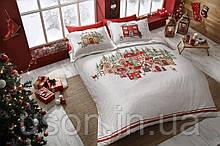 Комплект постельного белья сатин Tac размер евро Santa Kirmizi