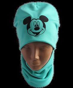 Детская / подростковая демисезонная шапка Микки с хомутом на флисе, мята