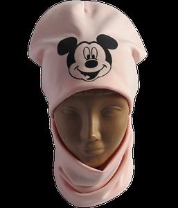 Детская / подростковая демисезонная шапка Микки с хомутом на флисе, пудра