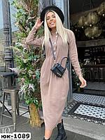 Женское стильное платье миди из льна с завышенной талией 3 цвета
