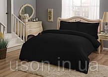 Комплект постельного белья сатин Tac размер евро Basic Black