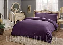 Комплект постельного белья сатин Tac размер евро Basic Purple