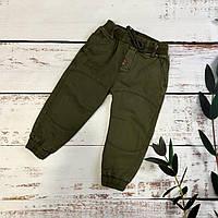 Стильные штанишки для мальчика на резинке Турция размеры на 3 года Хаки