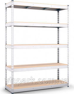 Стеллаж полочный 2160х1600х400мм, 300кг,5 полок с ДСП оцинкованный, стеллаж для магазина, офиса, кладовки