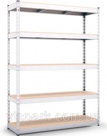 Стеллаж полочный 2160х1600х500мм, 300кг,5 полок с ДСП оцинкованный, стеллаж для магазина, офиса, кладовки