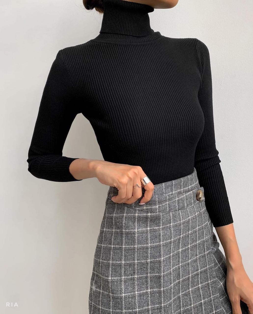 Женский гольф машинной вязки рубчик с высоким воротником (р 42-46) 77dm1113