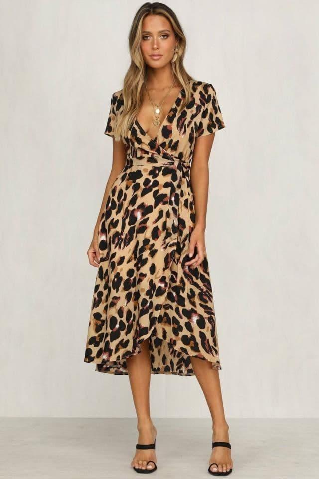 Платье на запах в леопардовый принт из шифона с коротким рукавом (р. S-L) 83ty2166