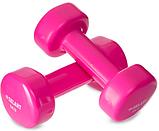 Гантелі для фітнесу з вініловим покриттям (пара) 3 КГ Zelart рожеві, фото 2