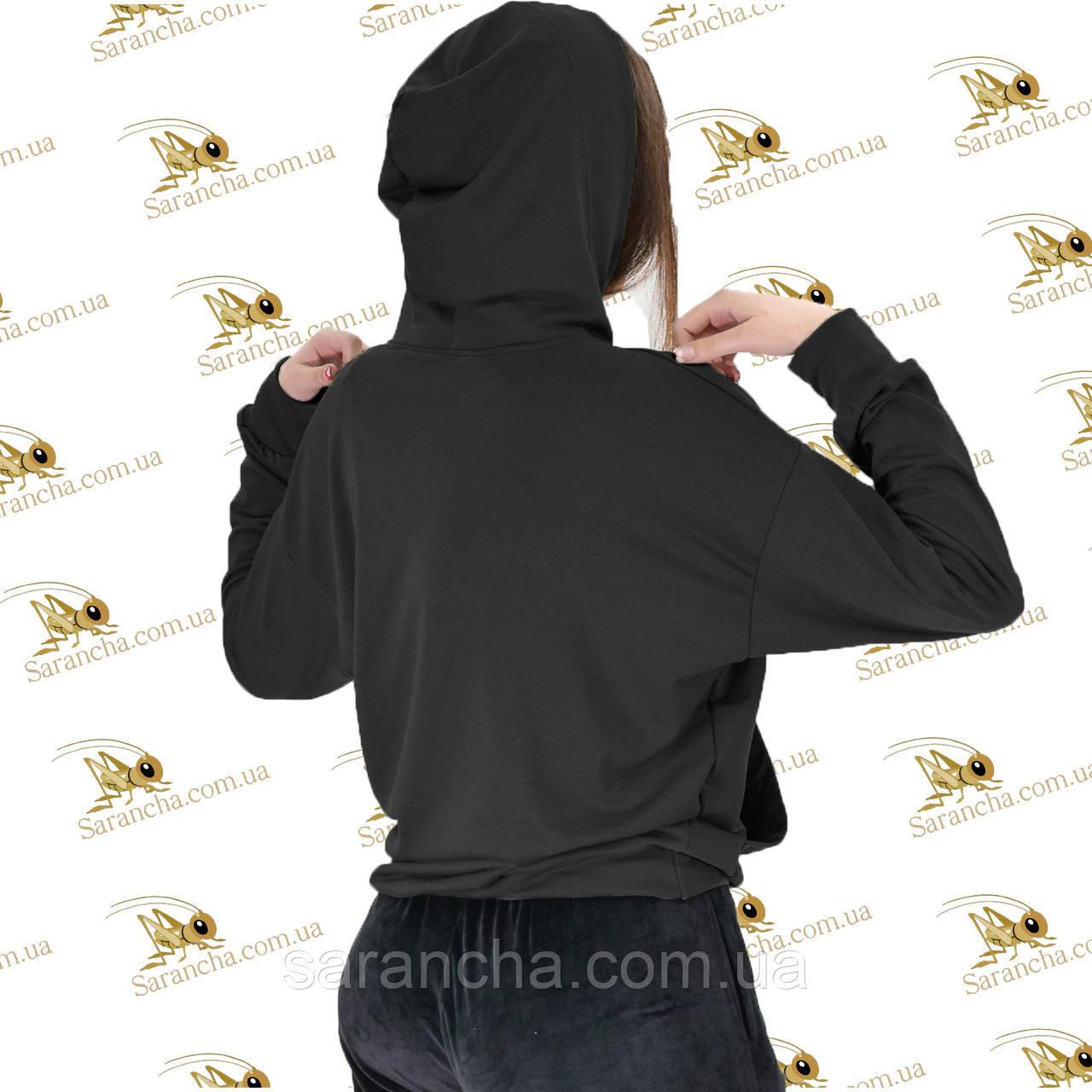 Лонгслив худи свитшот с капюшоном женский черная двунитка