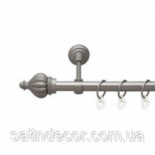 Карниз для штор металевий ТАДЖА однорядний 19мм 1.6 м Сатин нікель
