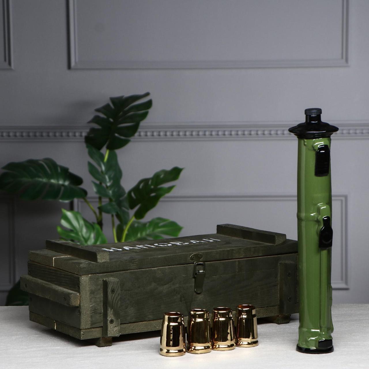 Набор для спиртного «Наповал» в деревянном ящике