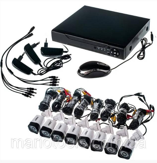 8-ми канальний реєстратор +8 камер з ІЧ підсвічуванням DVR Pro Vision NX-800 AHD 4ch Gibrid 4.0 MP H. 264