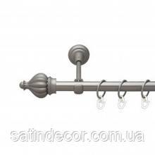 Карниз для штор металевий ТАДЖА однорядний 19мм 2.4 м Сатин нікель