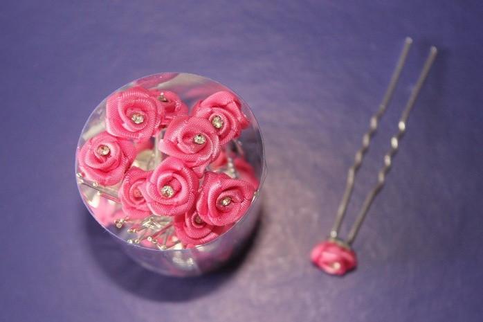 Шпилька для волос Цветочек с камнем розовый
