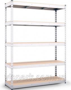 Стеллаж полочный 3120х1600х700мм, 300кг,5 полок с ДСП оцинкованный, стеллаж для офиса, гаража, магазина
