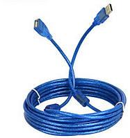 Кабель USB AM/AF подовжувач 10м силіконовий