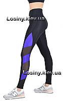 Жіночі для фітнесу та спорту, спортивні жіночі легінси з утяжкой, висока посадка Valeri 1401 з фиолетом, фото 1