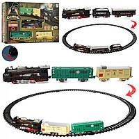 Залізниця на бат-ці,локомотив,15см,2вагони,звук.,світ.,11дет.,у кор-ці,38х26х5,5см,2види №19058-1-2(24)