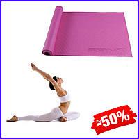 Гимнастический коврик йога мат SportVida Pvc 4 мм SV-HK0049 Pink для фитнеса, йоги, пилатеса и аэробики