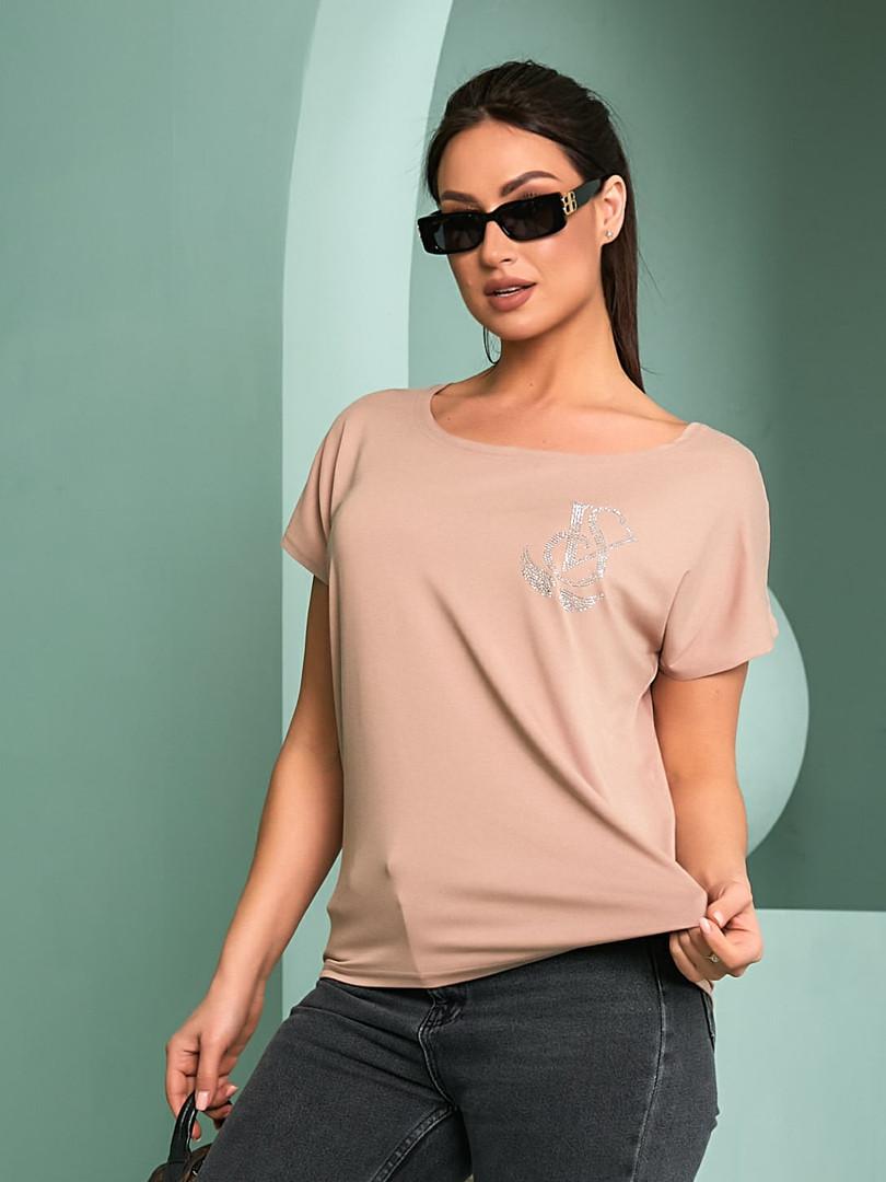 Женская футболка, турецкая вискоза, р-р универсальный 50-54 (бежевый)