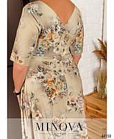 Нарядное макси платье с цветочным принтом из вискозы с 46 по 56 размер, фото 4