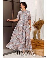 Нарядное макси платье с цветочным принтом из вискозы с 46 по 56 размер, фото 5