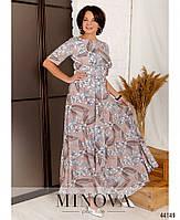 Нарядное макси платье с цветочным принтом из вискозы с 46 по 56 размер, фото 2