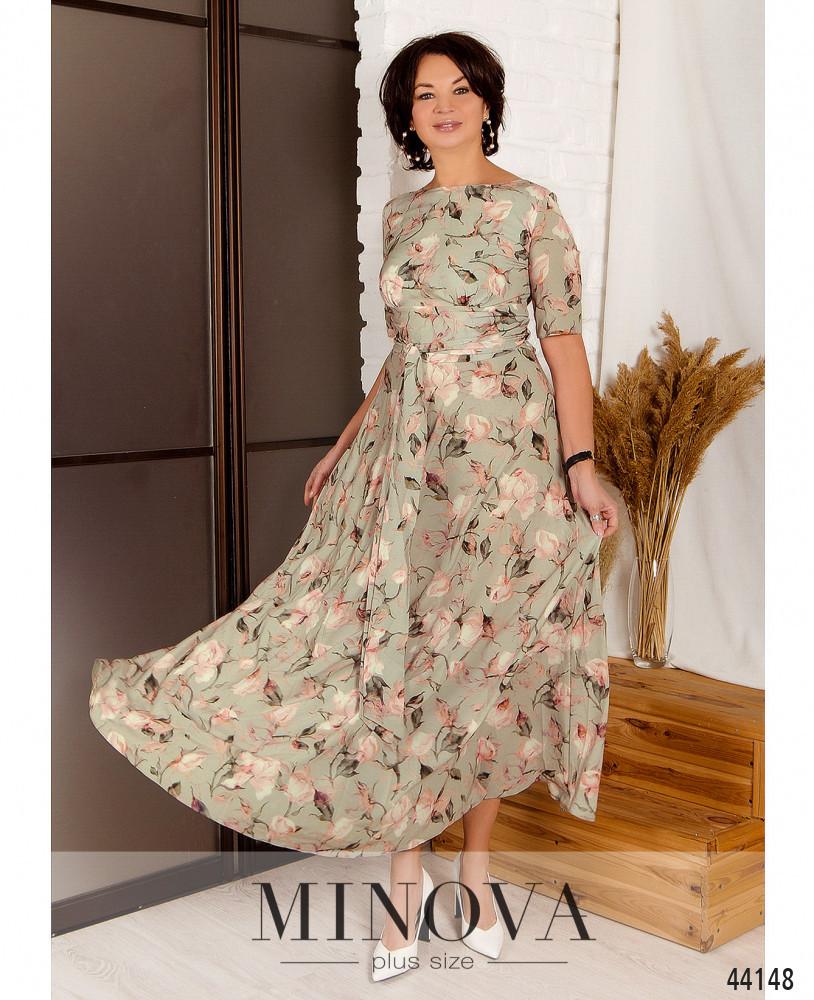 Нарядное макси платье с цветочным принтом из вискозы с 46 по 56 размер