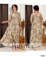 Нарядное макси платье с цветочным принтом из вискозы с 46 по 56 размер, фото 7