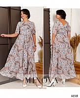 Нарядное макси платье с цветочным принтом из вискозы с 46 по 56 размер, фото 8