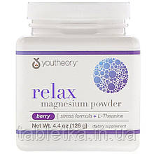 Youtheory, Relax, Magnesium Powder, Stress Formula + L-Theanine, Berry, 4.4 oz (126 g)
