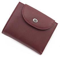 Бордовый кожаный кошелек маленького размера ST Leather