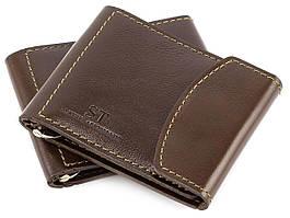 Коричневий затиск для грошей з фіксатором ST Leather