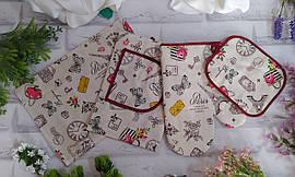 Набір кухонний подарунковий лляної 4в1 рушник, прихватки , рукавиця, фартух