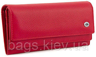 Жіночий червоний гаманець з блоком для карт ST Leather