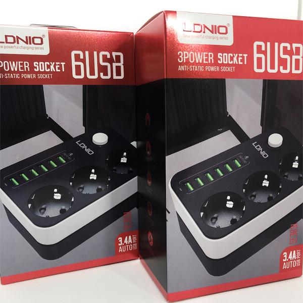 Сетевой удлинитель фильтр LDNIO SE3631 на 3 розетки + 6 USB 3.4A