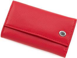 Красная женская ключница вертикального типа из натуральной кожи ST Leather